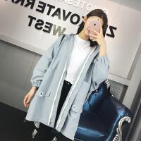 柔柔家2018春季宽松显瘦后背贴布长袖中长款风衣外套休闲外套女