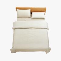 当当优品家纺 纯棉日式色织水洗棉床品 1.5米床 床笠四件套 条纹素麻