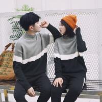 新款情侣装秋冬男士休闲时尚保暖半高领针织衫套头毛衣女韩版宽松