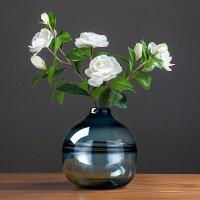 现代简约玻璃花瓶家居客厅北欧餐厅插花蓝色透明花器软装饰品摆件