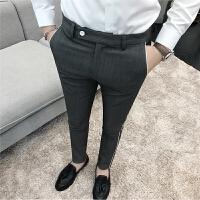 新款秋冬男士韩版修身小脚休闲裤男裤子个性白边西裤潮流发型师