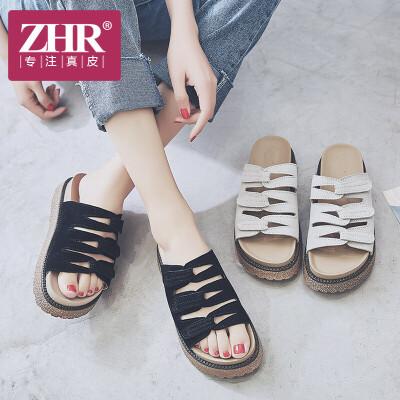 ZHR2018夏季新款韩版百搭沙滩鞋时尚凉拖厚底松糕拖鞋外穿潮女鞋E121