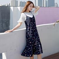 2018新款女装春装时髦套装裙夏季时尚吊带裙两件套雪纺碎花连衣裙