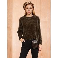针织衫女士季新款韩版宽松圆领毛衫时尚长袖短款套头毛衣
