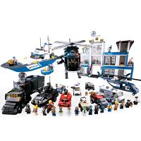 兼容积木拼插儿童玩具男孩拼装积木 警察直升机押运车