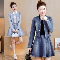 春秋季新款女装长袖牛仔连衣裙时尚裙子套装短裙两件套潮