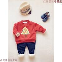 冬季童装新款0-5岁宝宝可爱圣诞树加厚加绒纯色圆领卫衣绒衫 圣诞红色 80码衣标 5