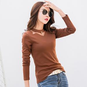春季新款女装镂空T恤女长袖棉质韩版修身纯色显瘦体恤打底衫
