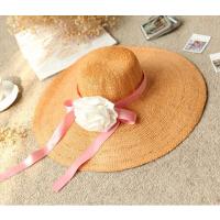 新款女士夏季草帽大沿帽手工森女大花朵大檐草帽优雅女士系草帽