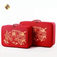 红色行李箱结婚陪嫁箱新娘结婚用的箱子结婚箱子红色婚庆箱包喜字布箱新娘复古密码箱手提旅行箱行李箱女皮箱 红色双面喜字