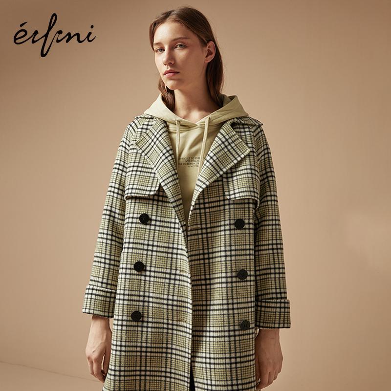 2件4折 100%纯羊毛伊芙丽2018冬装新款格子毛呢外套羊毛双面呢大衣女