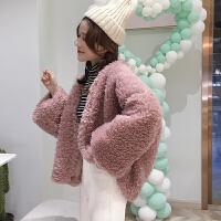 秋冬韩版新款羊羔毛开衫外套百搭宽松显瘦宽松加厚保暖上衣女学生