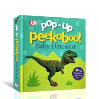 【全店300减100】英文原版进口纸板书 DK儿童书系列 恐龙立体书 Pop-Up Peekaboo! Baby Din