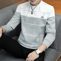 男士长袖t恤秋季加绒加厚卫衣男圆领秋衣潮流韩版体恤打底衫上衣