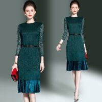 春装新品欧洲站女装七分袖蕾丝拼接百褶中长款女士连衣裙