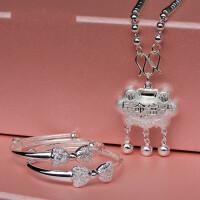 女宝宝足银长命锁套装S999.9足银手镯婴儿小孩银项链满月周岁银饰