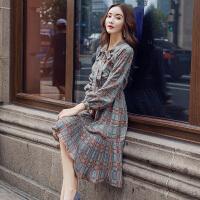 安妮纯长袖连衣裙女士2018新款秋季春装韩版中长款修身显瘦收腰气质秋天
