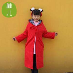 柚儿童装 棉麻中国风唐装女童夹棉斗篷 风衣披风棉衣亲子秋冬新