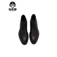 米乐猴 潮牌英伦马丁靴男雕花男靴复古休闲男鞋短靴韩版透气中筒靴男鞋