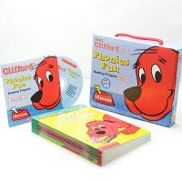 【全店300减100】英文原版绘本 Clifford Phonics Fun 12册书+CD Pack 5 大红狗 趣味