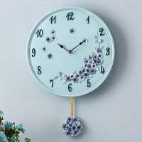 欧式田园挂钟静音时钟客厅卧室钟表现代简约石英钟