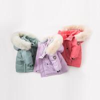 戴维贝拉冬季新款男女童中长保暖毛领连帽羽绒服DB8825