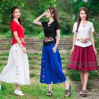 中国风 女装上衣 夏季新款 复古 刺绣棉麻短袖绣花修身T恤女