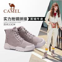 骆驼女鞋2019冬季新款英伦风中跟厚底靴子女时尚加绒保暖短靴女