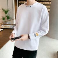 男士秋季新品个性纯色长袖t恤男体恤宽松百搭上衣服潮牌
