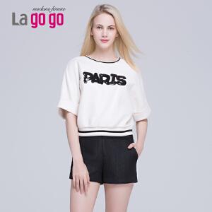 Lagogo/拉谷谷新款五分袖拼接圆领T恤上衣