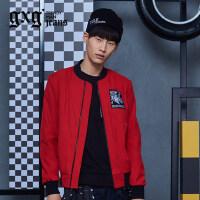 gxg.jeans男装秋季休闲红色青年抗皱棒球服修身夹克外套63621131