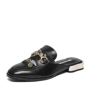 Belle/百丽2017春专柜同款时尚刺绣穆勒鞋油皮绵羊皮女凉鞋BNUA1AH7