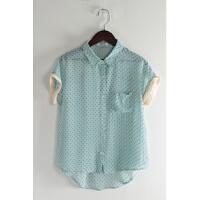 J7夏新款韩版简约单排扣宽松显瘦微透女波点短袖雪纺衬衫