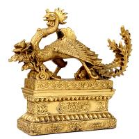 铜凤凰风水摆件吉祥物带底座汉凤家居装饰工艺品摆设