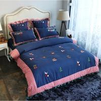 家纺全棉磨毛四件套加厚被套床单刺绣套件1.8m床上用品冬季