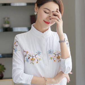 安妮纯长袖衬衫女2020春装韩版新款女装木耳领上衣绣花白色OL职业立领衬衣