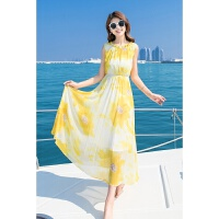 2018夏季新款海边度假泰国显瘦仙沙滩裙巴厘岛波西米亚长裙女甜美印花雪纺连衣裙 黄色