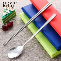 304不锈钢便携餐具 学生扁筷子勺子套装韩式旅行便携套装盒