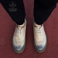 米乐猴 潮牌秋冬季布洛克男鞋雕花皮鞋英伦复古潮鞋韩版潮流板鞋内增高休闲鞋