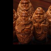 橄榄核雕立体达摩六祖手串 文玩橄榄胡雕刻手串手链男