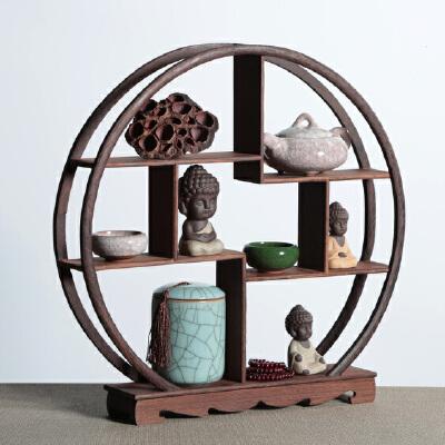 幽咸家居 木质桌面置物架 多宝阁 鸡翅木博古架 中式古玩架 实木多宝阁小摆件 特价工艺品