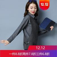 假两件毛衣女秋冬长袖韩版衬衣领上衣短款针织打底衫百搭 X