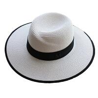 呛口小辣椒标礼帽帽子女夏天韩版太阳沙滩遮阳防晒白色草帽 M(56-58cm)