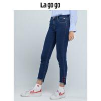 Lagogo/拉谷谷2019年冬季修身九分裤毛边高腰牛仔裤女HCNN519A69