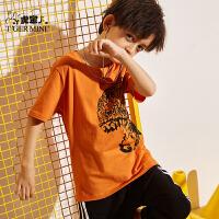 【2件3折到手价:38.1元】小虎宝儿童装男童短袖t恤薄款2020夏季新款儿童纯棉打底衫中大童