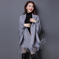 斗篷针织披肩外套女秋装中长款2018新款秋冬加厚流苏带袖羊绒开衫 均码