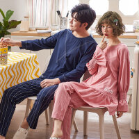 情侣睡衣女夏季纯棉长袖男韩版可爱清新学生春秋可外穿家居服套装