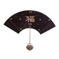 挂钟客厅 中国风复古摆钟简约 创意艺术时钟挂钟卧室钟表 深胡桃色 16英寸
