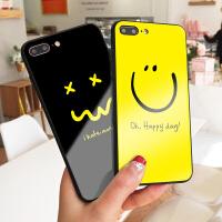 happy day笑脸苹果7plus手机壳情侣款iPhone8可爱玻璃6保护套XS MAX彩绘外壳6splus挂脖防摔