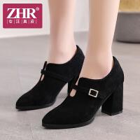 ZHR2018春季新款女鞋尖头单鞋小清新高跟鞋粗跟女休闲鞋仙女的鞋K76